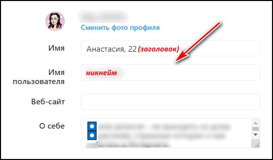 Заголовок и никнейм с Инстаграма