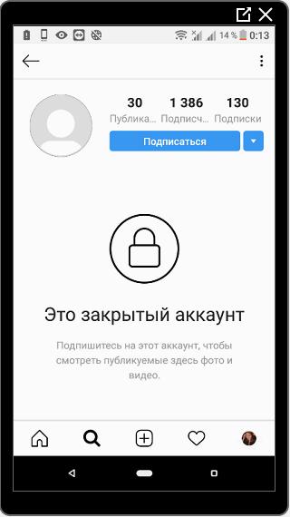 Пример закрытого Аккаунта в Инстаграме
