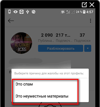 Выбор категории жалобы на профиль в Инстаграме
