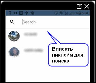 Поиск страницы в Ghosty Инстаграм