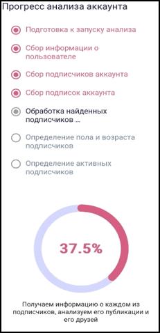 Процесс анализа вашего аккаунта в Инстаграм