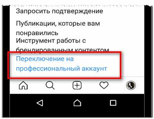 Переключение на профессиональный аккаунт в Инстаграме пример