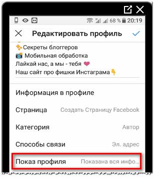 Показ профиля в Инстаграме