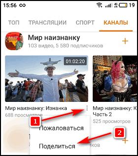 Кнопка Поделиться видео в приложении