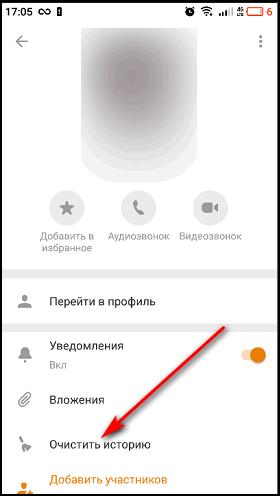Очистка чата в мобильном приложении
