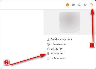 Полное удаление чата с сообщениями в браузере на ПК