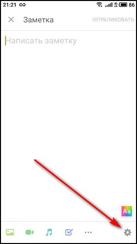 Ввод текста и кнопка настройки в приложении