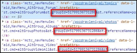 ID группы в коде страницы