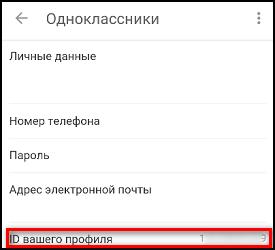 ID профиля в мобильном приложении