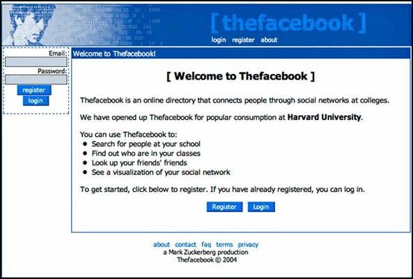 Первая версия Фейсбука