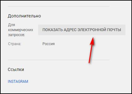 Показать адрес электронной почты в Ютубе