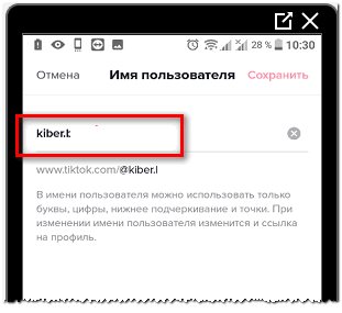 Изменить имя пользователя в Тик Токе
