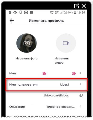 имя пользователя в Тик Токе
